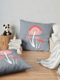 """Mushroom Abstract"" Floor Pillow by Mandsred1 