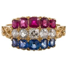 Preowned Antique Americana Sapphire Ruby Diamond Gold Cluster Ring ($7,550) ❤ liked on Polyvore featuring jewelry, rings, blue, gold diamond rings, yellow gold diamond rings, diamond rings, antique rings and antique ruby rings