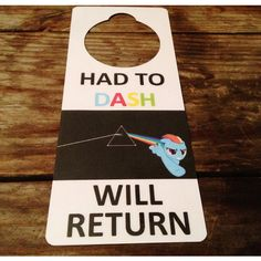 My Little Pony Friendship is Magic FiM Rainbow Dash Door Sign and Dry... ($3) ❤ liked on Polyvore