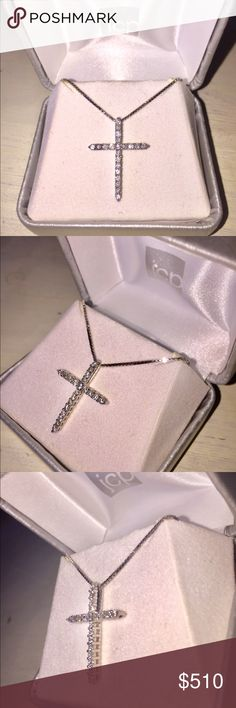 """🆕 Genuine Diamond Cross Pendant Necklace Sparkling display of your faith, this cross pendant shines bright as a classic piece for daily wear and special occasions 💎   •Brand new - comes in original box  •18"""" box chain  •21 round cut stone diamonds •I believe this is 1/4 carat t.w. diamonds & 14k yellow gold plated sterling silver  •Prong setting  •Spring ring closure   🌸 Posh Ambassador/Suggested User 🌸 ⭐️ 5 star rating (from over 120 sales) ⭐️ 📫 Will ship within 24 hours 📫  👜 OPEN TO…"""
