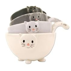 "6"" Cat Measuring Cups Nesting Bowls Set Of 4 Ceramic"