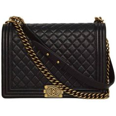 Pre-owned CHANEL '15 Black Quilted Caviar Large Boy Bag GHW
