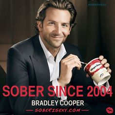 """If I continued it, I was really going to sabotage my whole life."" ""I don't drink or do drugs anymore,"" Bradley Cooper told People recently. ""Being sober helps a great deal … I remember looking at my life, my apartment, my dogs [when I was still using], and I thought, 'What's happening?'"" #recovery #sober #celebrities #SoberSince"