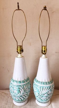 Pair of Vintage Earthenware White and Aqua Lamps $120