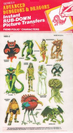 Advanced Dungeons and Dragons Picture Transfers (Fiend Folio Characters) Series 2 - 1981 Dungeons And Dragons Art, Dungeons And Dragons, Dnd Art, Pen And Paper Games, Dungeon, Character Design, Advanced Dungeons And Dragons, Dragon Pictures, Dragon
