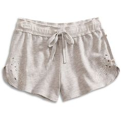 Lucky Brand Lounge Shorts ($44) ❤ liked on Polyvore featuring shorts, embroidered shorts and lucky brand shorts