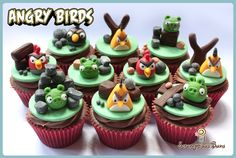 Angry Birds - Chocolate fudge cupcakes swirled with Dairy Milk Ganache.