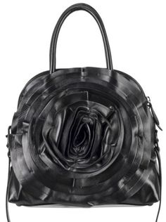 9e4af7e3c00e This Valentino Petale Hobo has a large shiny leather black ruffled rose on  the front of