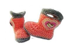 Baby girl Booties shoes crochet handmade heart gift by babyshooz for $19.95