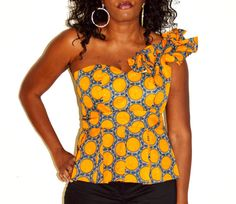 African One Shoulder Strap  Blouse Orange Blouse by ZabbaDesigns, $35.00