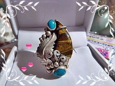 Chaco Canyon Unisex RING Bold Tiger's Eye Bear Claw Kingman Turquoise .925 RB #CHACOCANYONRB