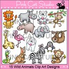 This is a value pack of 15 wild animal clip art designs.   The designs include: an elephant, a flamingo, a giraffe, a hippopotamus, a kangaroo, a l...