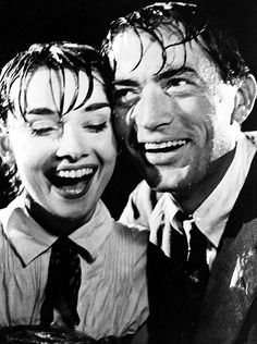 Audrey Hepburn and Gregory Peck on the set of Roman Holiday (1953)