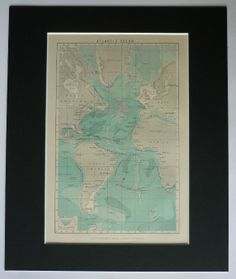 Vintage map print old map of the Atlantic Ocean and the coastlines of Europe Africa South America North America and Greenland Click on image to view