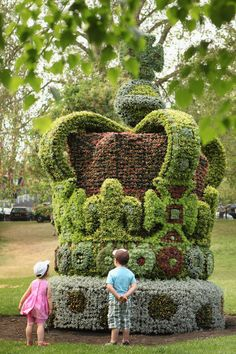 A giant floral crown made to celebrate the Diamond Jubilee of Her Majesty Queen Elizabeth II in St James's Park on May 29, 2012 in London, England. The four meter high floral crown took five weeks to construct and weighs approximately five tonnes; it was constructed in Cornwall using 13,500 individual plants.