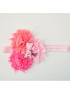 Girls Accessories :: Headbands and Hair Bows :: Headbands :: Frayed Rosette Headband Shades of Pink With Bow - Born Fabulous Boutique