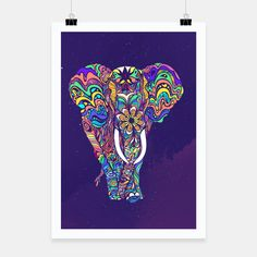 Not a circus elephant #Poster by #Bizzartino on @live_heroes #wanderlust #elephant #cosmic #nature #love #peace #yoga