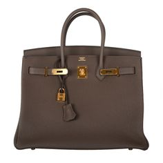 NEW INCREDIBLE COLOR! HERMES BIRKIN BAG TAUPE 35cm GOLD HARDWARE AMAZING COMBO! | From a collection of rare vintage handbags and purses at http://www.1stdibs.com/fashion/accessories/handbags-purses/