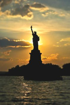 Sunset - Statue Of Liberty New York