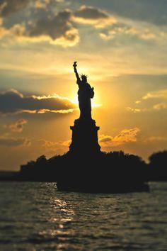 Sunset - Statue Of Liberty New York