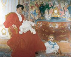 'Mrs Dora Lamm and Her Two Eldest Sons', Watercolour by Carl Larsson (1853-1919, Sweden)