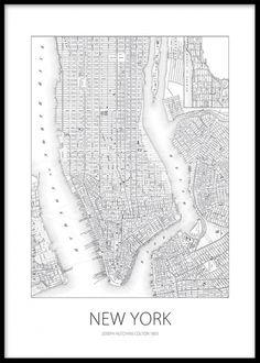 Svartvit poster/affisch med New york karta.