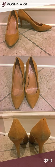 J. Crew Suede Camel Elsie Pointy Pumps Heels $245 These are some of J Crew's bestselling shoes. I believe this color is no longer produced. They fit true to size. Retail for $245. They have some dirt marks and if you know how to clean suede you can probably get them out. Heels are 3.5 inches J. Crew Shoes Heels