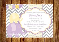 Purple and Yellow Elephant Baby Shower Invitation- LOVE LOVE LOVE