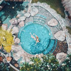 This is a Watsu - water shiatsu - in our heated pool. Once you've tried it, you wouldn't want to have your shiatsu in any other way.  Fantastic drone shot by @droneheroes at https://atmosphereresorts.com/ Spa