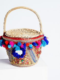 Embellished Straw Basket from Free People!