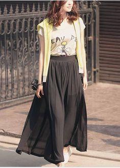 Wholesale Korea Stylish Fashion Chiffon Long Skirt