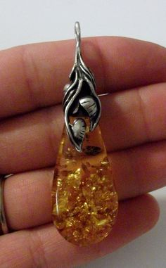 Sterling Silver and Amber Pendant by onetime on Etsy, $12.25