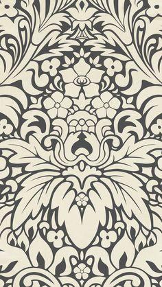 iphone 5 wallpaper - #black #damask #pattern