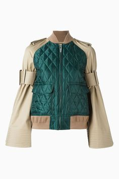 Pin for Later: You'll Be Seeing These Sleeves Everywhere Come Autumn Sacai Military Bomber Jacket Sacai Military Bomber Jacket Military Bomber Jacket, Girls Bomber Jacket, Green Bomber Jacket, Military Style Jackets, Sports Jacket, Bomber Jackets, Janoski Nike, Sport Chic, Military Fashion