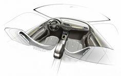 Industrial design sketching: concept Audi Q3 Interior Design Sketch.