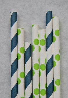 Navy Blue Paper Straws & Green Dot Paper Straws, 50 Pack, Preppy Paper Straw Mix via Etsy