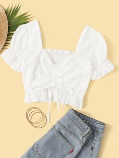 To find out about the Eyelet Embroidery Drawstring Front V-neck Shirred Back Blouse at SHEIN, part of our latest Blouses ready to shop online today! Summer Outfits, Casual Outfits, Cute Outfits, Cropped Tops, Fashion Clothes, Fashion Outfits, Fashion Scarves, Fashion Styles, Latest Fashion