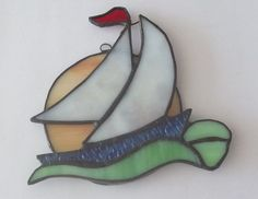 951e99a08790f Sail Boat Night Light. Stained Glass SuncatchersStained ...