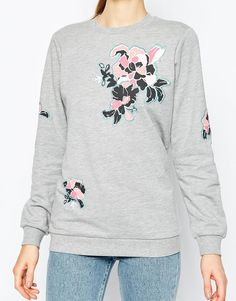 Image 3 of ASOS Sweatshirt With Floral Embroidery Badge Detail