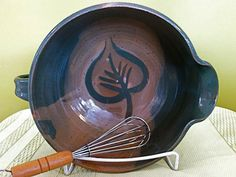Great stoneware batter bowl Dark green with by paradisepottery, $42.00