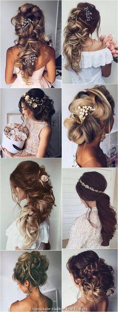Bridal Hairstyles: Ulyana Aster Long Wedding Hairstyles Inspiration www. Wedding Hairstyles For Long Hair, Fancy Hairstyles, Wedding Hair And Makeup, Bride Hairstyles, Bridal Hair, Hair Makeup, Quinceanera Hairstyles, Cut Her Hair, Wedding Hair Inspiration