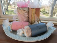 cookie packaging - oatmeal canister, paper, ribbons, and tissue - super cute, and so simple!