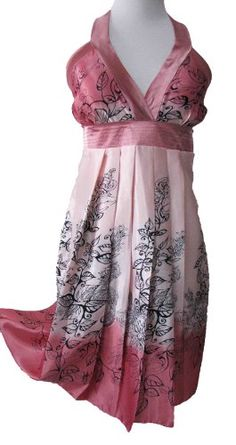 the grace eboutique gorgeous floral pleated halter Satin summer party prom dress, Size S-M, Coral, $38.9