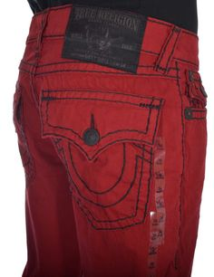 True Religion Mens Jeans Size 36 Straight with Flaps Super T in Vintage Red NWT #TrueReligion #ClassicStraightLeg