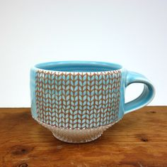 Blue glazed porcelain mug with knit pattern and dotted texture by Emily Murphy Pottery on Etsy