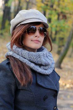Grey chunky scarf Knit infinity scarf knit cowl scarf by Nastiin