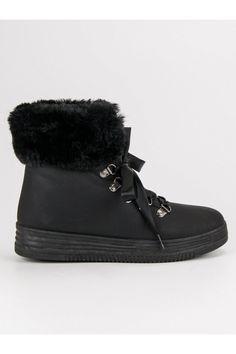 Čierne topánky s kožušinou CnB Moccasins, Flats, Winter, Shoes, Fashion, Penny Loafers, Loafers & Slip Ons, Winter Time, Moda