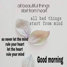 Image may contain: text that says 'all beautiful things start from heart all bad things start from mind So never let the mind rule your heart let the heart rule your mind Good morning' Gd Morning, Happy Morning, Good Morning Messages, Morning Prayers, Good Morning Good Night, Good Morning Wishes, Morning Music, Morning Board, Morning Post