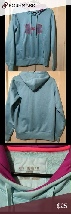Womans Under Armour Sweatshirt It is womans size medium, color is gorgeous Aqua and purple, tiny stain in front, like new, no holes or other stains!! Under Armour Tops Sweatshirts & Hoodies
