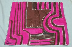 Vintage 1970s Vera Neumann pink brown abstract scarf. $26.00, via Etsy.